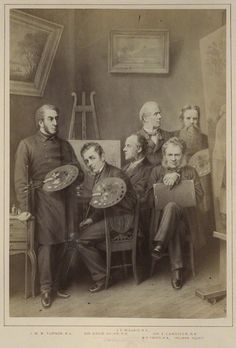 William Holman Hunt and Sir John Everett Millais are included in 'Artists', published 1876, by Unknown artist, published by Hughes and Edmonds. Abumen print, National Portrait Gallery. Given by Mrs Granville Proby, 1944