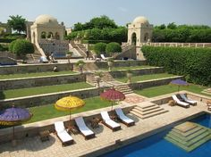 Agra India. View of the pool terraces.