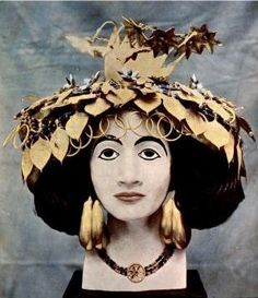 Queen Pu-abi: When she was found 4,500 years after she was buried, she was still wearing this elaborate headdress, and the entire upper portion of her body was covered in jewelry.  Jewelry from The Royal Tombs of Ur