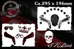 Airbrush Schablone Totenkopf Skull Gangster 2 Tlg.   SK-Brush - Fachgeschäft und Custompaint Studio für Airbrush & Pinstriping