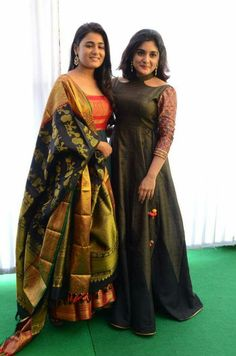 Nivetha thomas at East Coast Productions movie opening Saree Gown, Sari Dress, Anarkali Dress, Indian Dresses, Indian Outfits, Long Gown Dress, Long Frock, Indian Attire, Saree Blouse Designs