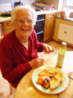 My mum eating Quiche Hash browns and Roasted Mediterranean Vegetables roasted in Flora Cuisine!