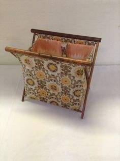 No. 2  Vintage Folding Sewing / Knitting Basket Tote with Wood Frame and bakelite closure Craft Yarn Portable by ReEmporium on Etsy
