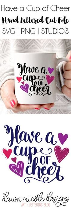 Cup of Cheer Hand Lettered Free SVG Cut File | dawnnicoledesigns.com