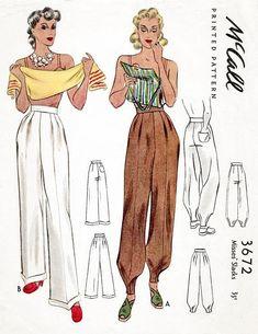 McCall 3672 1940s trousers jodhpurs vintage sewing pattern