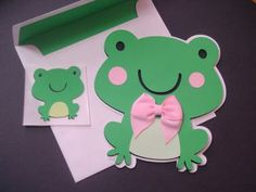 Green Frog Card , Frog Shaped Card , Animal Shaped Cards , Kids Cards , Frog Cut Out , Birthday Card , Child Party Invitations by BethiesCards for $4.50