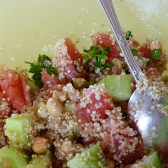 taboulé quinoa - pamplemousse - concombre - pois chiches - persil
