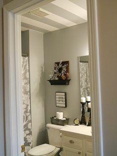 Homey Home Design: Mini Bathroom Redo with striped ceiling.love the striped ceiling! Striped Ceiling, Home Made Soap, Decorating Your Home, Decorating Ideas, Mini, Sweet Home, House Design, Bathroom Ideas, Bath Ideas