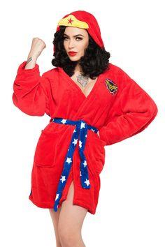 Pinup Girl Clothing- Wonder Woman Hooded Robe | Pinup Girl Clothing