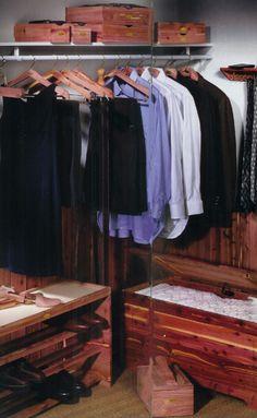 a cedar closet to protect his wardrobe