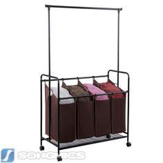 Songmics-4-bag-Laundry-Sorter-Cart-W-Hanging-Bar-Heavy-duty-Dark-Brown-URLS44Z
