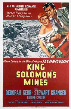 One-sheet poster featuring Stewart Granger as Allan Quartermain and Deborah Kerr as Elizabeth Curtis, King Solomon's Mines, 1950