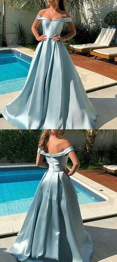 MACloth Off the Shoulder Maxi Prom Dress Sky Blue Formal Evening Gown Blue Dresses, Prom Dresses, Formal Dresses, Couture Fashion, Evening Gowns, Off The Shoulder, Sky, Bridal, Wedding