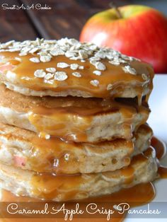 Caramel Apple Crisp Pancakes | Oaty Apple Cinnamon Pancakes dripping with caramel sauce from www.sweetasacookie.com #apple #cinnamon #caramel