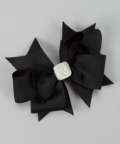 Take a look at this Black Crystal Bow Clip by Payton Grace Bows on #zulily today!