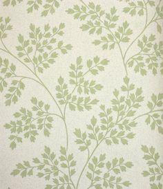 Coralie Wallpaper Leaf design wallpaper in green on off-white.