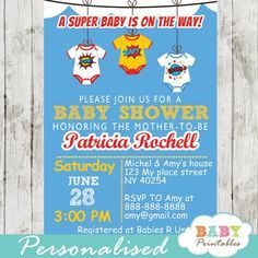 Printable comic superhero bodysuits baby shower invitation for boys. This personalized  invitation features the cutest superhero onesies decorated with comic action words POW!, ZAP! and BOOM!. #babyprintables