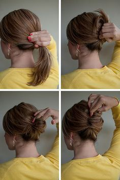 Hairstyle How-To: Gather your hair into a low ponytail Twist your ponytail and twist it up Tuck the end of your ponytail inside to form a roll Use bobby pins to pin in place. For a secure finish, pin from right to left, twisting the p Twist Hairstyles, Pretty Hairstyles, Prom Hairstyles, Indian Hairstyles, French Roll Hairstyle, French Hair, French Roll Updo, Messy French Twists, Twist Ponytail