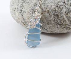 Sea Glass Necklace, Pale Blue, Wire Wrapped Pendant, Scottish Sea Glass, Wife Gift, Silver, Natural, Wire Weave, Ornate, Wirework Jewellery by BeauBellaJewellery on Etsy