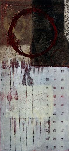 """Leaving Memories, by Anne Moore, monotype with collage, 15""""x 7"""""""