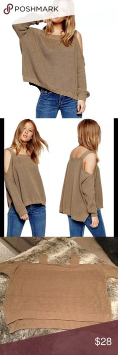 Coffee Bare Shoulder Hi Lo Knit Sweater Coffee bare shoulder, hi lo, 3/4 sleeve, 100% acrylic sweater. One size fits most. Best fit size 2-8. Sweaters