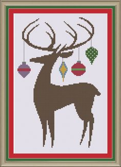 Reindeer silhouette: cute Christmas by nerdylittlestitcher on Etsy