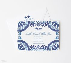 Set the tone for your destination wedding in Mexico beautifully with this Spanish tile inspired design! 100% original art by Michelle Mospens. #weddings #weddingideas #weddinginvites #weddinginspiration #weddinginvitations #destinationwedding #beachwedding | Mospens Studio - Unique Save The Dates