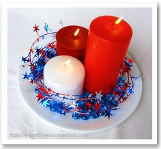 4th of july decorating ideas-if one could put a blue candle with the red and white---that would be better.