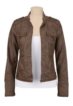Faux leather 4 pocket bomber jacket (original price, $59) available at #Maurices
