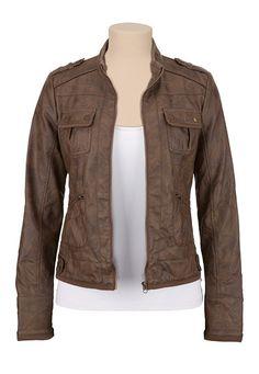 Faux leather 4 pocket bomber jacket