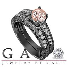 Morganite & Diamond Engagement Ring And Wedding by JewelryByGaro