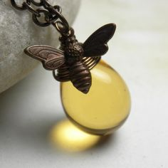 Honey Bee Jewelry Bee Necklace Vintaj Brass Wire by LunaJewelry. $29.00, via Etsy.