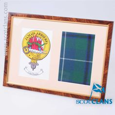 Douglas Clan Crest & Real Tartan, Framed. Free Worldwide Shipping Available