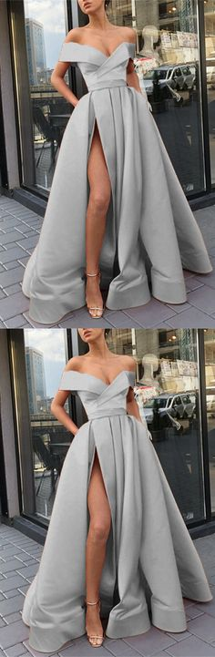 Long Silver Satin Split Evening Dresses Off The Shoulder Prom Dress 2019 Formal Gowns For Parties Source by alinanovafashion dress night Modest Dresses, Cute Dresses, Prom Dresses, Matric Farewell Dresses, Dresses For Teens Wedding, Lace Dress Black, Formal Gowns, Dream Dress, Evening Dresses