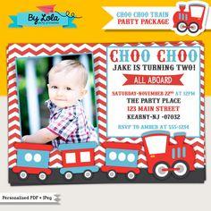 Choo Train Birthday Party Photo Invitation