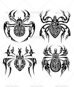 Tribal Spiders - #Tattoos #Vectors Download here: https://graphicriver.net/item/tribal-spiders/7559836?ref=alena994