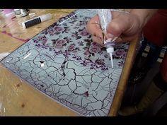 Decoupage on glass & Cracking Paste - Tehnica decupajului pe sticla si pasta de crapare - YouTube
