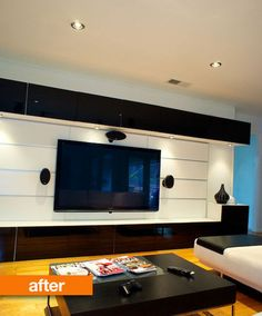 A bit too trendy but I like the lighting and clean lines. Basement ideas for down the road...