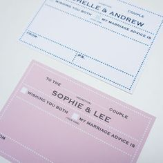 50 Personalised Wedding Advice Cards Dot Border Design - albums & guest books