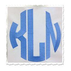 Large Circle 3 Letter Monogram Machine Embroidery Font Alphabet - 3 Sizes