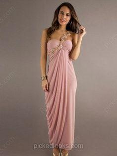 Chiffon One Shoulder Ankle-length Sheath/Column Appliques Lace Ball Dresses -NZD$190.39
