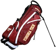NCAA Virginia Tech Hokies Fairway Stand Bag by Team Golf. $129.99. 6 location embroidery and 5 zippered pockets. 2 lift assist handles and cooler pocket. Integrated top handle and 14-way full length dividers. Fleece-lined valuables pouch and removable rain hood. Umbrella holder and towel ring. This lightweight bag is feature full, including integrated top handle, 14-way full length dividers, 6 location embroidery, 5 zippered pockets, 2 lift assist handles, cooler pocket, fleece...