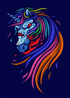 """Beautiful """"zombie unicorn"""" metal poster created by Queensy Collin. Our Displate metal prints will make your walls awesome. Evil Unicorn, Unicorn Art, Unicorn Illustration, Tattoo Illustration, Super Pictures, Unicorn Poster, Unicorn And Fairies, Fantasy Tattoos, Unicorn Pictures"""