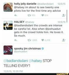 I don't know whether im happy because halsey gives people concert advice or because jishua is ticklish.