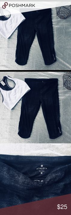 Athleta Yoga Pants These yoga capris are a perfect choice for working out. The fabric dries easily and they are very comfortable. Athleta Pants Track Pants & Joggers