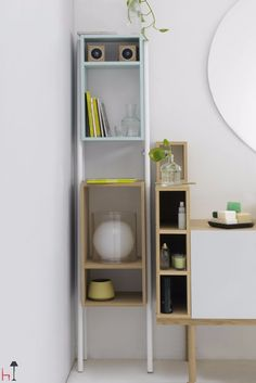 Freestanding storage unit where objects and most precious collectables are well displayed and easy accessible.