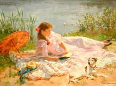 Reading a book by the lake. Alexander Averin (1952-) Russian painter.