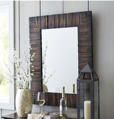 How to make a rustic framed mirror with pallets.