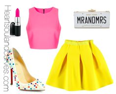 LOVE the colors. Bright yellow pleated skirt with pink top and funfetti shoes. bright pink lipstick to complete the look.