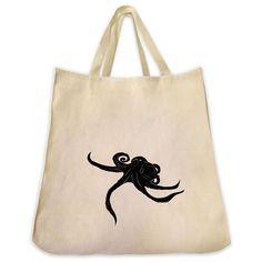 Octopus Silhouette Design Extra Large Eco Friendly Reusable Cotton Canvas Tote Bag